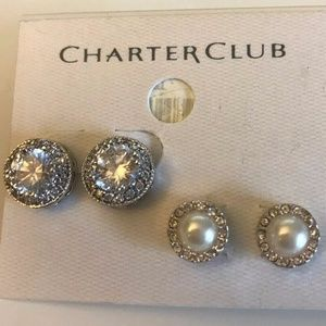 CHARTER CLUB STUD DUO SILVER, PEARL NWOT